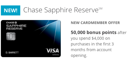 Chase Sapphire Reserve 50 000 Point Signup Bonus A Good